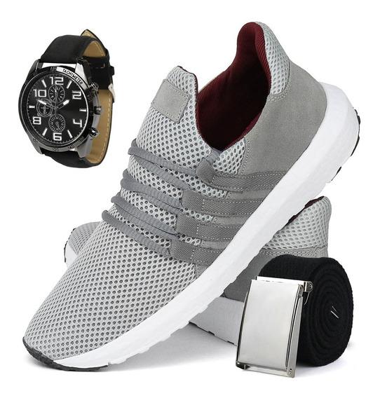 Tênis De Corrida Confortável Sapatofran Com Relógio E Cinto