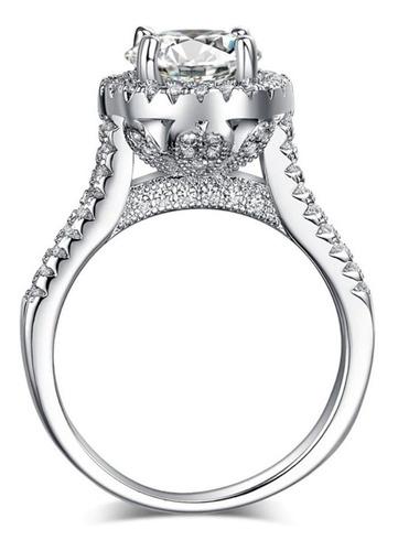 Imagen 1 de 8 de Anillo De Compromiso Plata + Baño Oro Blanco Diamante Cultiv