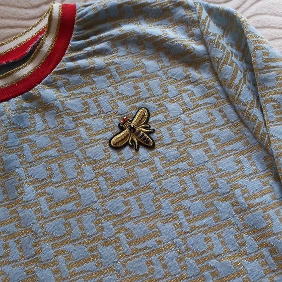 Sweater Celeste Con Abejita, Talla S, H&m, Nueva