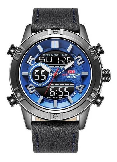 Relógio Kat-wach Masculino Anadigi Kt1807 Azul E Preto