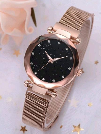 Relógio De Pulso Feminino Luxuoso Pulseira Magnética