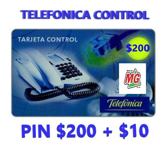 Tarjeta Telefónica Control Pin $200 + $10 - Pin Control $210