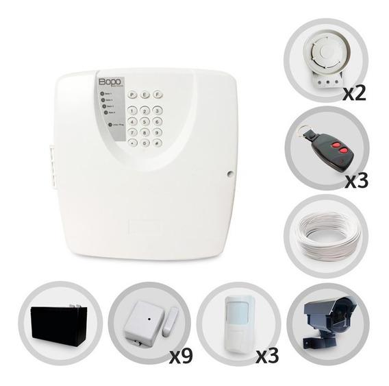 Kit Alarme Residencial Bopo 12 Sensores Sem Fio Discadora