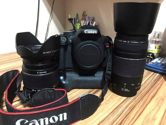 Câmera Canon T3i + Grip + 2 Bat. + Lentes 18-55 E 75-300