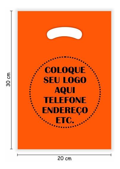 Sacolas Alça Vazada Personalizadas 20x30- Laranja -1000 Unid