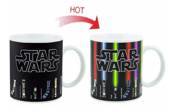 Taza Mágica Sable Láser Star Wars Vader Yoda Kenobi Skywalke