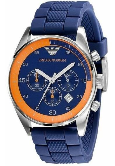 Relógio Emporio Armani Ar5864 Azul Laranja Original