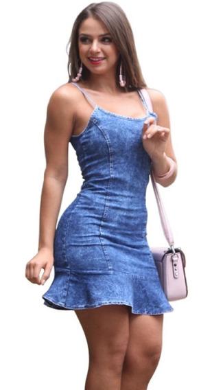 Vestido Jeans Alcinha Regulável Estilo Peplum Com Lycra