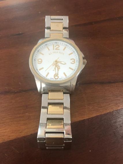 Relógio Analógico Us Polo Assn - Prata E Dourado
