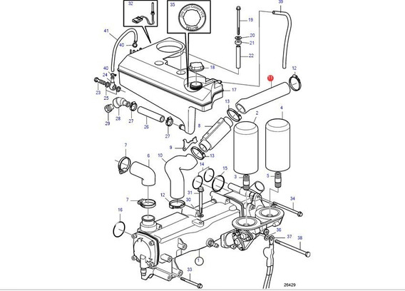3817783 Mangueira Resfriador Diesel D6 Volvo Penta