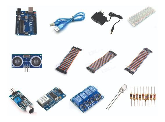 Kit Arduino Uno R3 Dip Fonte Protoboard Módulos Sensores