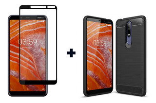 Funda Tpu Rugged Armor Nokia 3.1 Plus + Templado Curvo 5d