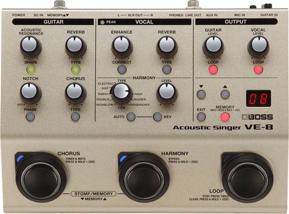 Novo Pedal Boss P/ Violão Ve-8 - Processador Vocal Looper