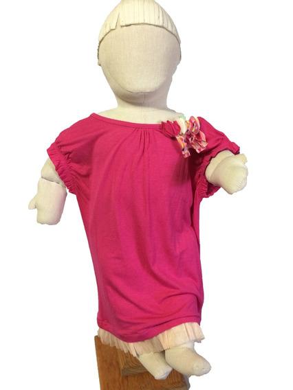 Playera Blusa Camiseta Rosa Fucsia Niña Sin Manga
