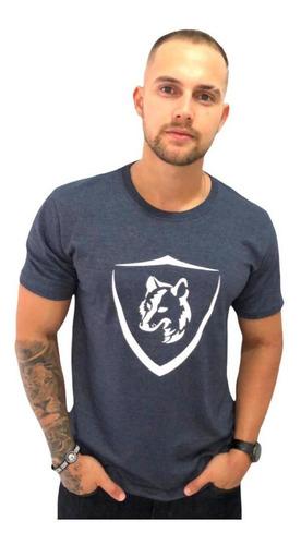 Imagem 1 de 2 de Camiseta Masculina Lobo Brasão Cm035 Azul