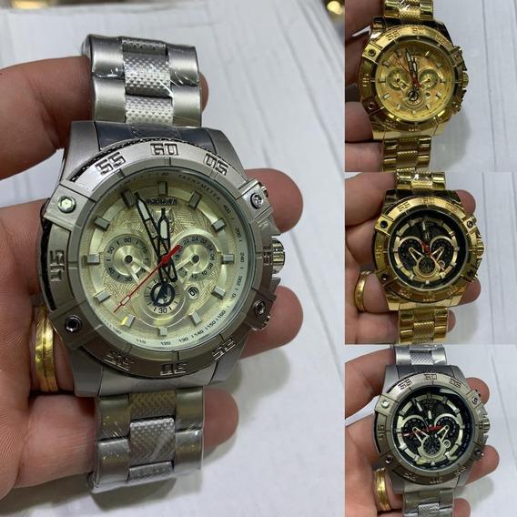 Relógio Masculino Barato Dourado Robusto Pesado Aço + Caixa