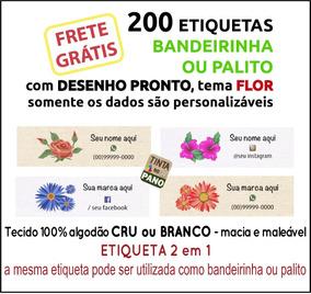 200 Etiquetas Algodão Desenho De Flor E Dados Personalizados