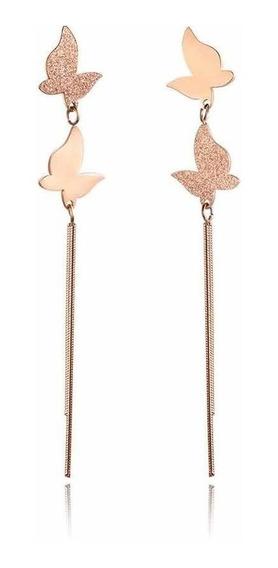 Brinco Semijoia Luxo Banhado Rose Gold 18k Não Escurece