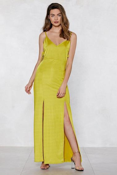 Vestido Largo Importado Amarillo Nasty Gal Talle M