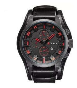 Relógio Curren Marrom Couro Top Luxo C/ Analogico
