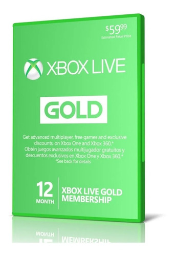 Xbox Live Gold 12 Meses Codigo Digital + Gta V Xbox One Key