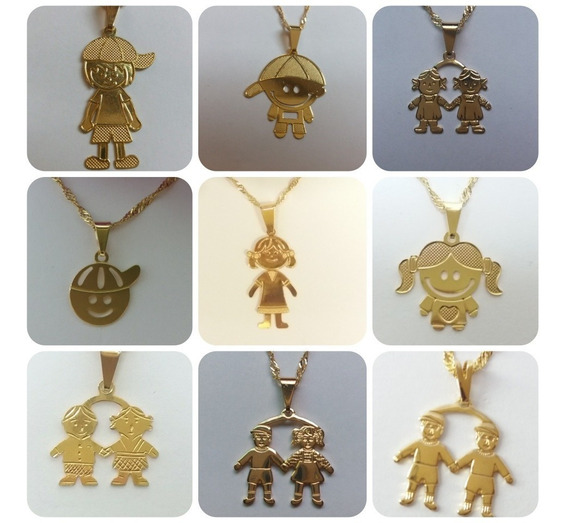 10 Pingentes+correntes Bonecos Folheado A Ouro