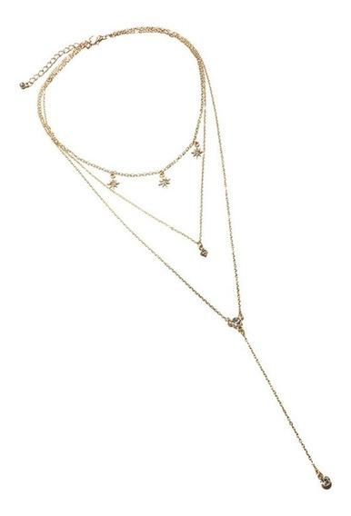 Colar Star Diamond Cravícula Corrente Simples Colar De 3 Cam