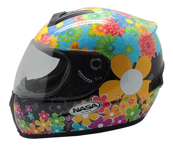 Capacete Nasa Helmets Flowers Sh 821 Preto Consulte Tamanho
