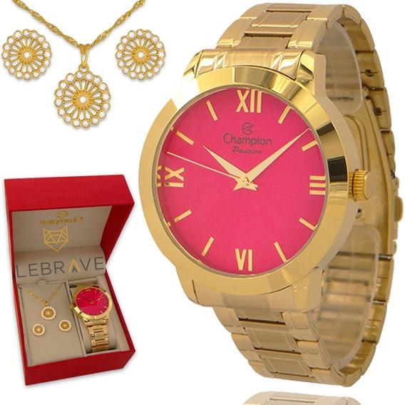Relógio Champion Feminino Dourado Ouro 18k 1 Ano De Garantia