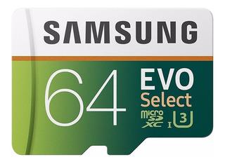 Memoria Microsd Samsung Evo Select 64gb Clase 10 100mb/s U3