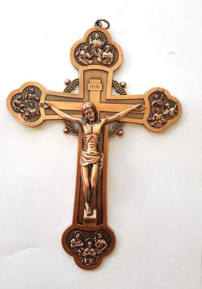 Crucifixo Cruz Com Os Apóstolos Bizantino 22cm Bonze