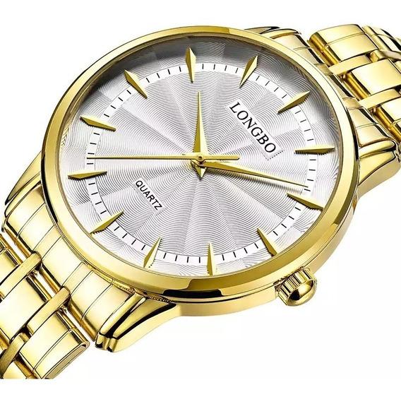 Relógio Masculino Dourado Analógico Clássico Original