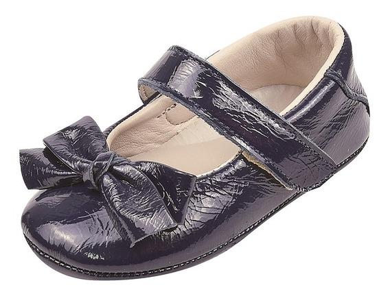 Sapato Infantil Feminino Couro Verniz Doce Bebê