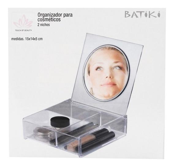 Organizador Porta Maquiagem Cosmeticos Espelho Tampa 2 Nicho