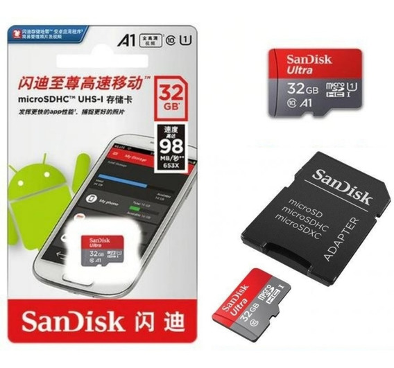 Cartão Micro Sdhc Sandisk Ultra 32gb C10 A1 98mb/s Original