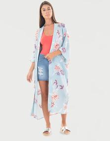 Kimono Midi Floral Azul Claro