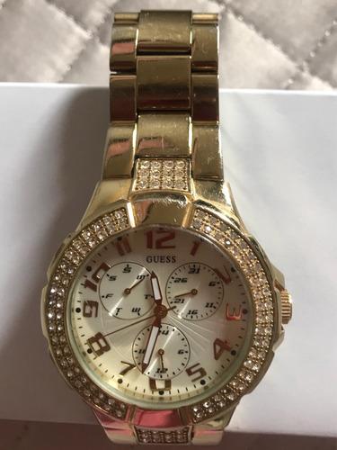 Relógio Pulso Guess Dourado Aço Com Detalhes Strass