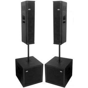 Caixa Ativa Bi-amplificada Kit 4 Caixas Sub 15 4x6 Vert2200