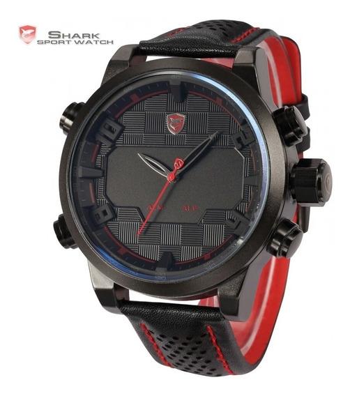 Relógio Masculino Esportivo Shark Original Pulseira De Couro