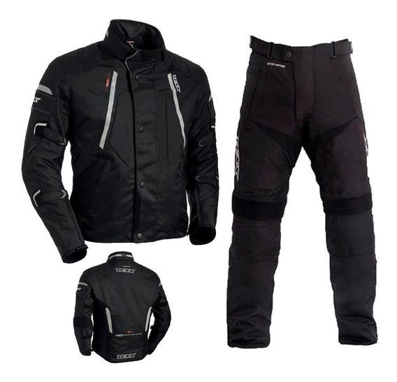 Conjunto Texx Impermeavel Moto Jaqueta Air Bag Calça Strike
