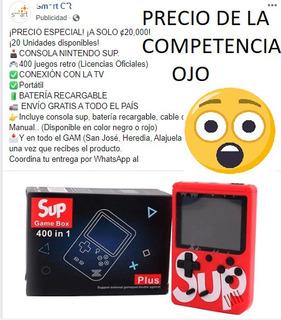 Consola Retro 400 Juegos, Negra, Roja Y Azul