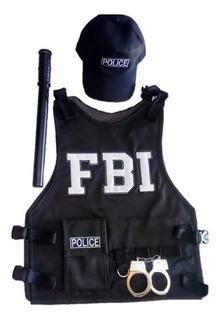 Fantasia Policial Adulto Fbi Ou Swat+boné+algemas+ Cassetete