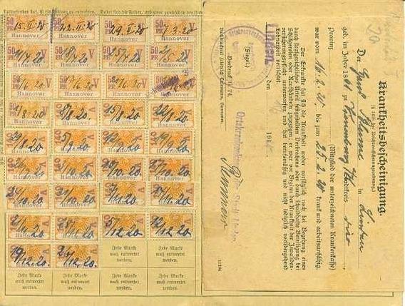 Alemanha 1920 Documento Com 46 Selos De Contribuição