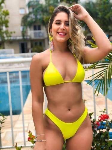 Biquíni Cortininha E Asa Delta Amarelo Neon