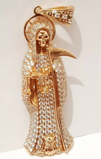 Dije Santa Muerte Diamantada Oro Laminado 18k + 1 Cortesia