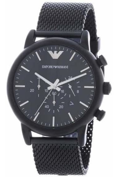 Relógio Empório Armani Ar1968 Aço Malha Black Cronografo
