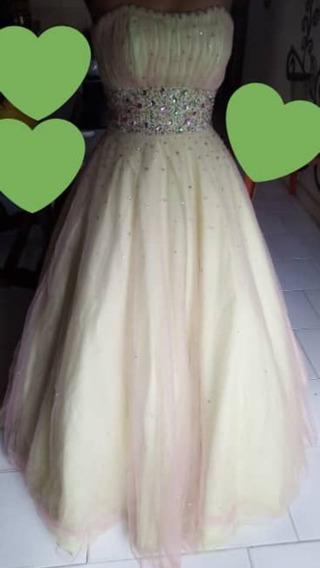 Vestido 15 Años Talla 3/4 (mundo Novia) Verde Con Rosado