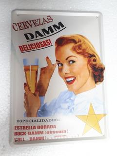 Placa Metal Vintage Cerveza Damm