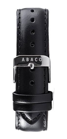 Correa Reloj Abaco 20mm Cuero Negro Hebilla Plateada
