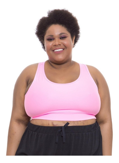 Top Plus Size Wonder Size Básico Casual Poliamida Rosa